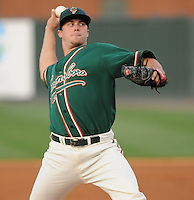 Pitcher Robert Morey (22) of the Greensboro Grasshoppers in a game against the Greenville Drive on April 26, 2011, at Fluor Field at the West End in Greenville, South Carolina. A fifth-round pick by the Florida Marlins in the 2010 First-Year Player Draft, Morey pitched six shutout innings, giving up three hits to pick up the 11-0 win. (Tom Priddy/Four Seam Images)