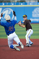Jacob Orr (8) of Governor Thomas Johnson High School (MD) playing for the San Diego Padres scout team forces out TJ White (21) of Dorman High School (SC) playing for the New York Mets scout team at second base during game three of the South Atlantic Border Battle at Truist Point on September 26, 2020 in High Pont, NC. (Brian Westerholt/Four Seam Images)
