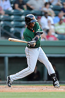 Second baseman John Polonius (17) of the Augusta GreenJackets in a game against the Greenville Drive on Friday, May 23, 2014, at Fluor Field at the West End in Greenville, South Carolina. (Tom Priddy/Four Seam Images)