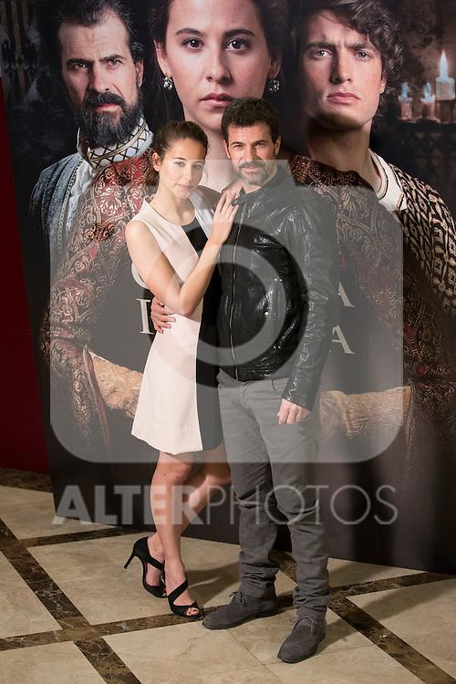 Spanish actor Rodolfo Sancho and actress Irene Escolar pose during `La corona partida´ film presentation in Madrid, Spain. February 16, 2016. (ALTERPHOTOS/Victor Blanco)