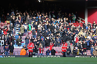 Pictured: Swansea supporters. 01 February 2014<br /> Re: Barclay's Premier League, West Ham United v Swansea City FC at Boleyn Ground, London.