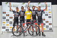 The successful IsoWhey Sports SwissWellness team after stage five of the NZ Cycle Classic UCI Oceania Tour in Masterton, New Zealand on Tuesday, 26 January 2017. Photo: Dave Lintott / lintottphoto.co.nz