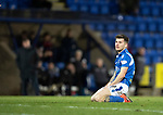 St Johnstone v Ross County…..29.12.19   McDiarmid Park   SPFL<br />Matty Kennedy reacts after his shot was tipped onto the crossbar by Nathan Baxter<br />Picture by Graeme Hart.<br />Copyright Perthshire Picture Agency<br />Tel: 01738 623350  Mobile: 07990 594431