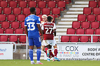 5th September 2020; PTS Academy Stadium, Northampton, East Midlands, England; English Football League Cup, Carabao Cup, Northampton Town versus Cardiff City; Ryan Watson of Northampton Town celebrates as he scores for 3-0
