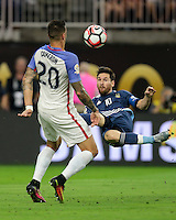 Houston, TX - June 21, 2016: The U.S. Men's National team go down 0-2 to Argentina from a goal by Lionel Messi in first half action in Semifinal play at the 2016 Copa America Centenario at NRG Stadium.