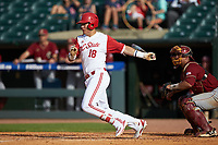 Evan Mendoza (18) of the North Carolina State Wolfpack follows through on his swing against the Boston College Eagles in Game Two of the 2017 ACC Baseball Championship at Louisville Slugger Field on May 23, 2017 in Louisville, Kentucky. The Wolfpack defeated the Eagles 6-1. (Brian Westerholt/Four Seam Images)