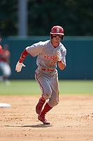 Josh McLain (15) of the North Carolina State Wolfpack hustles towards third base against the Northeastern Huskies at Doak Field at Dail Park on June 2, 2018 in Raleigh, North Carolina. The Wolfpack defeated the Huskies 9-2. (Brian Westerholt/Four Seam Images)