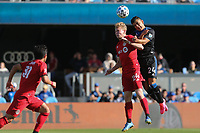 SAN JOSE, CA - FEBRUARY 29: Jacob Shaffelburg #24 of Toronto FC goes up for a header with Nick Lima #24 of the San Jose Earthquakes during a game between Toronto FC and San Jose Earthquakes at Earthquakes Stadium on February 29, 2020 in San Jose, California.