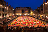 Grand Place Flower Carpet with ornate buildings, Brussels, Belgium