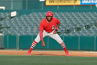 Springfield Cardinals Justin Williams (25) leads off during a Texas League game against the Frisco RoughRiders on May 6, 2019 at Dr Pepper Ballpark in Frisco, Texas.  (Mike Augustin/Four Seam Images)