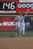 "One of the ""Molly Maid Drag Queens "" dragging the field between innings in a game between the Richmond Flying Squirrels and the Trenton Thunder at The Diamond on May 27, 2012 in Richmond, Virginia. Richmond defeated Trenton by the score of 5-2. (Robert Gurganus/Four Seam Images)"