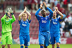 Hearts v St Johnstone...14.08.10  .Michael Duberry leads Peter Enckelman, Liam Craig and Sam Parkin in applauding the fans at full time.Picture by Graeme Hart..Copyright Perthshire Picture Agency.Tel: 01738 623350  Mobile: 07990 594431