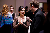 Performer Esther Yoon Chung speakers with jury member Sylvain Blassel from France after the Composition Forum at the 11th USA International Harp Competition at Indiana University in Bloomington, Indiana on Monday, July 8, 2019. (Photo by James Brosher)