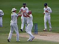 Darren Stevens (R) of Kent is congratulated by Nathan Gilchrist after taking the wicked of Emilio Gay during Kent CCC vs Northamptonshire CCC, LV Insurance County Championship Group 3 Cricket at The Spitfire Ground on 6th June 2021