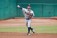 Rome Braves shortstop Riley Delgado (8) makes a throw to first base against the Greensboro Grasshoppers at First National Bank Field on May 16, 2021 in Greensboro, North Carolina. (Brian Westerholt/Four Seam Images)