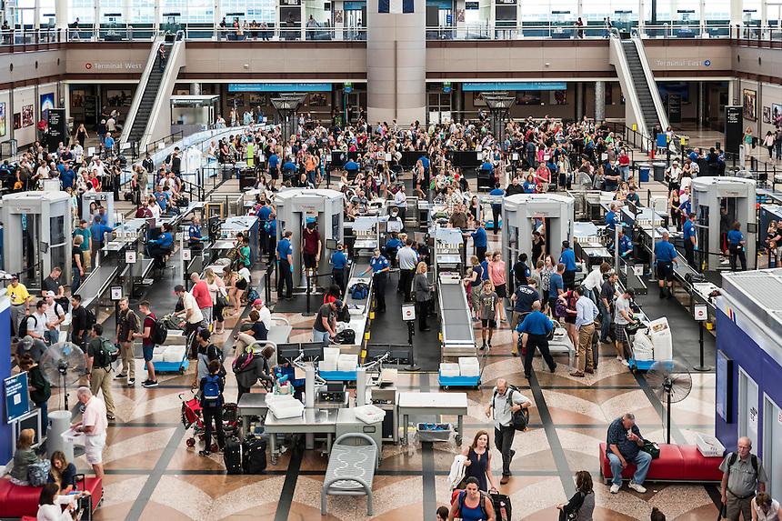 TSA security check, Denver airport, Colorado, USA