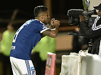 TUNJA -COLOMBIA, 29-07-2018. Cesar Carrillo jugador de Millonarios celebra después de anotar el primer gol de su equipo a Patriotas Boyacá durante partido por la fecha 2 de la Liga Águila II 2018 realizado en el estadio La Independencia de Tunja. / Cesar Carrillo player of Millonarios celebrates after scoring the first goal of his team to Patriotas Boyaca during match for the date 2 of Aguila League II 2018 played at La Independencia stadium in Tunja. Photo: VizzorImage/ Gabriel Aponte / Staff