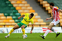 13th February 2021; Carrow Road, Norwich, Norfolk, England, English Football League Championship Football, Norwich versus Stoke City; Onel Hernandez of Norwich City takes on James Chester of Stoke City