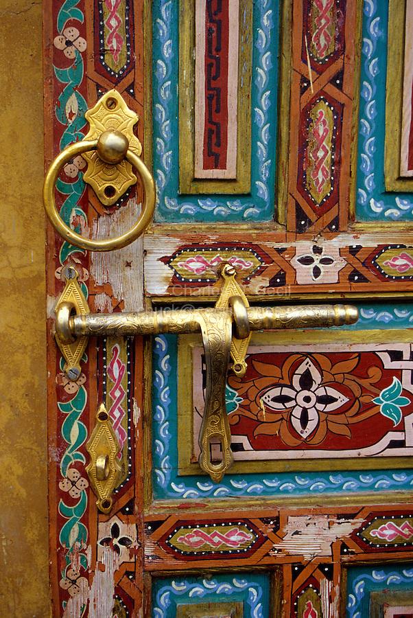 Fez, Morocco - Painted Wooden Door in the Old City.