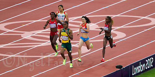09 AUG 2012 - LONDON, GBR - Caster Semenya (RSA) (third from right) of South Africa wins her women's 800m semi final at the London 2012 Olympic Games athletics in the Olympic Stadium, Stratford, London, Great Britain (PHOTO (C) 2012 NIGEL FARROW)