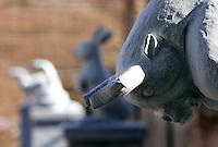 """Statue di pietra raffiguranti alcuni degli animali dello zodiaco cinese, parte della grande installazione """"Pechino 2008: il tempo, gli animali, la storia"""", dell'artista cinese Huang Rui, al Museo delle Mura di Porta San Sebastiano, Roma, 8 febbraio 2008..Stone carvings representing some of the animals of the Chinese zodiac, part of the large-scale installation """"Beijing 2008: Animal time in Chinese history"""" by the Chinese artist Huang Rui, at Rome's Wall Museum of St. Sebastien's Door, 8 february 2008..UPDATE IMAGES PRESS/Riccardo De Luca"""