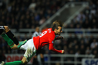 Saturday 17 November 2012<br /> Pictured: Michu of Swansea scoring the opening goal with a header.<br /> Re: Barclay's Premier League, Newcastle United v Swansea City FC at St James' Park, Newcastle Upon Tyne, UK.