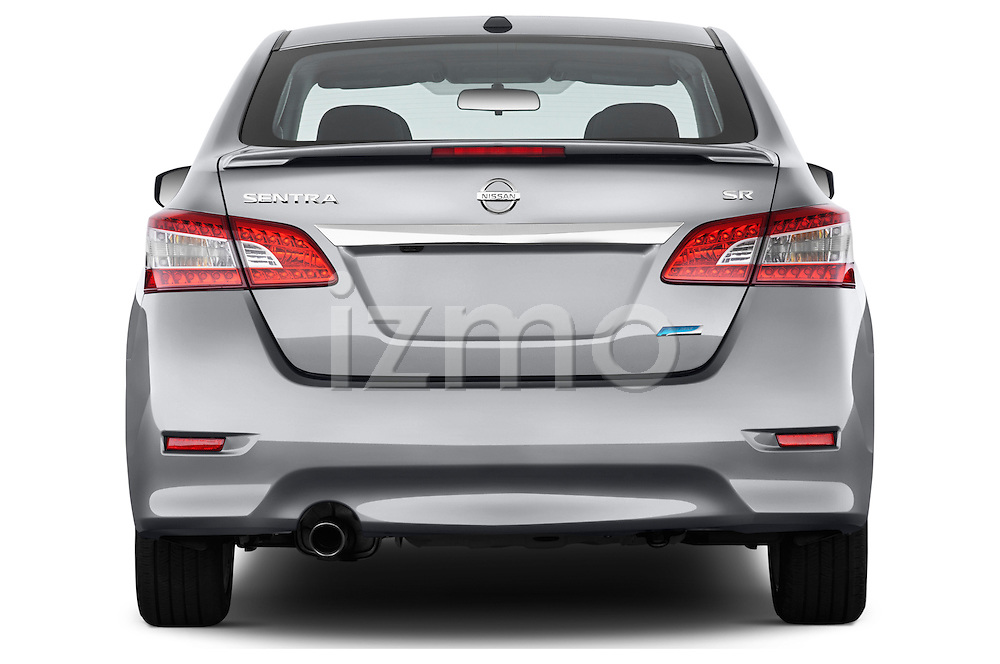 Straight rear view of a 2013 Nissan Sentra SR