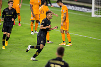 CARSON, CA - OCTOBER 28: Eddie Segura #4 of the Los Angeles FC scores a goal and celebrates during a game between Houston Dynamo and Los Angeles FC at Banc of California Stadium on October 28, 2020 in Carson, California.