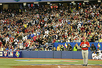 March 7, 2009:  Right Fielder Matt Stairs (12) of Canada gets a standing ovation during the first round of the World Baseball Classic at the Rogers Centre in Toronto, Ontario, Canada.  Team USA defeated Canada 6-5 in both teams opening game of the tournament.  Photo by:  Mike Janes/Four Seam Images