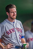 28 July 2013: New York Mets first baseman Ike Davis stands in the dugout prior to the start of a game against the Washington Nationals at Nationals Park in Washington, DC. The Nationals defeated the Mets 14-1. Mandatory Credit: Ed Wolfstein Photo *** RAW (NEF) Image File Available ***