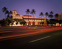 Christmas Lights, Honolulu Hale, Oahu, Hawaii, USA.