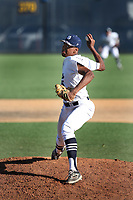 Hunter Greene (5) of the Notre Dame High School Knights pitches against the Harvard Westlake High School Wolverines at Notre Dame H.S. on March 31, 2017 in Sherman Oaks, California. Greene is expected to be a high first round pick in the 2017 Major League Baseball player draft on June 12. Notre Dame defeated Harvard Westlake, 2-1. (Larry Goren/Four Seam Images)