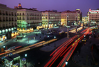 Spain. Madrid. Puerta del Sol.  Central square in Spain's capital city, evening