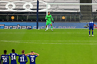 29th September 2020; Tottenham Hotspur Stadium, London, England; English Football League Cup, Carabao Cup, Tottenham Hotspur versus Chelsea; Hugo Lloris of Tottenham Hotspur celebrates as the penalty by Mason Mount of Chelsea goes wide after clipping the post and winning Tottenham the shoot out
