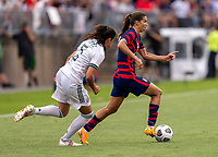 EAST HARTFORD, CT - JULY 5: Tobin Heath #7 of the USWNT dribbles the ball during a game between Mexico and USWNT at Rentschler Field on July 5, 2021 in East Hartford, Connecticut.