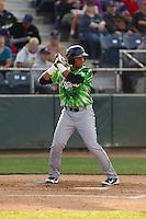 Eugene Emeralds third baseman Adonis Paula (16) at bat during a game against the Everett Aquasox at Everett Memorial Stadium in Everett, Washington.  Eugene defeated Everett 7-5. (Ronnie Allen/Four Seam Images)