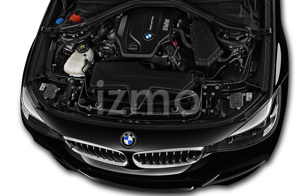 Car stock 2018 BMW 3 Series 330i GT M Sport 5 Door Hatchback engine high angle detail view