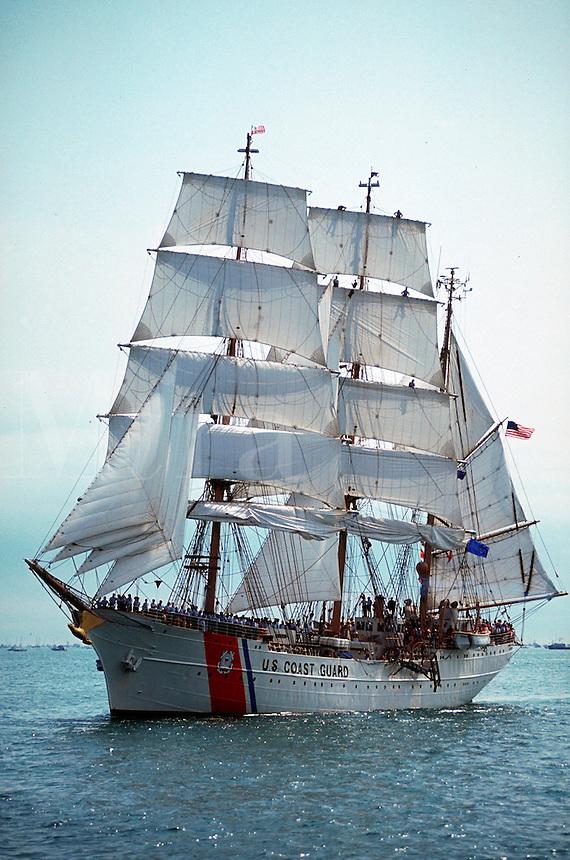 US Coast Guard training ship the Eagle under full sail.