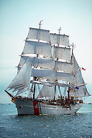 US Coast Guard training ship the Eagle under full sail.