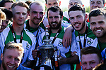 North Ferriby players celebrate with the trophy. Vanarama National League North, Promotion Final, North Ferriby United v AFC Fylde, 14th May 2016.