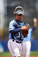 Charlotte Stone Crabs catcher David Rodriguez (10) during a game against the Lakeland Flying Tigers on April 16, 2017 at Charlotte Sports Park in Port Charlotte, Florida.  Lakeland defeated Charlotte 4-2.  (Mike Janes/Four Seam Images)