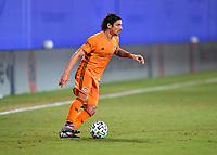 LAKE BUENA VISTA, FL - JULY 18: Zarek Valentin #4 of the Houston Dynamo looks for options with the ball during a game between Houston Dynamo and Portland Timbers at ESPN Wide World of Sports on July 18, 2020 in Lake Buena Vista, Florida.