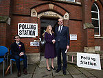 © Joel Goodman - 07973 332324 . 20/11/2014 . Kent , UK . UKIP candidate Mark Reckless (r) with his wife Catriona Reckless , arriving at a polling station at Baptists Church Institute on Crow Lane , Rochester , to cast his vote . The Rochester and Strood by-election campaign following the defection of sitting MP Mark Reckless from Conservative to UKIP . Photo credit : Joel Goodman