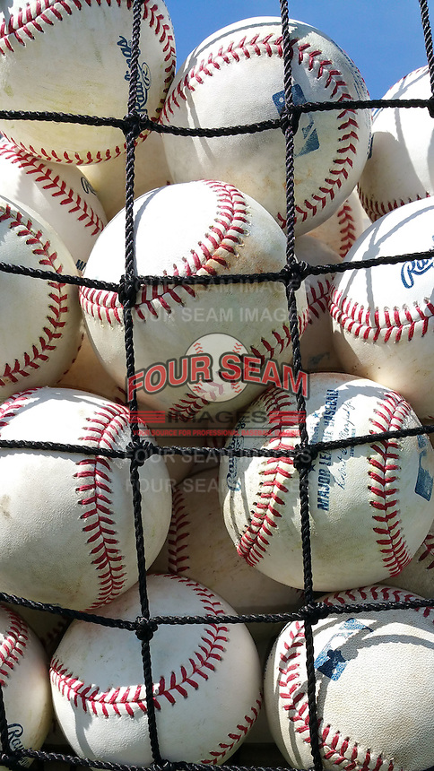Practice baseballs before a St. Louis Cardinals minor league spring training game against the New York Mets on April 1, 2015 at the Roger Dean Complex in Jupiter, Florida.  (Mike Janes/Four Seam Images)