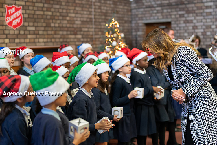 First Lady Melania Trump Visits the Salvation Army Clapton Center<br /> <br /> First Lady Melania Trump gives Be Best Christmas ornaments to students from Baden Powell Primary School Wednesday, Dec. 4, 2019, during a visit to the Salvation Army Clapton Center in London. (Official White House Photo by Andrea Hanks)