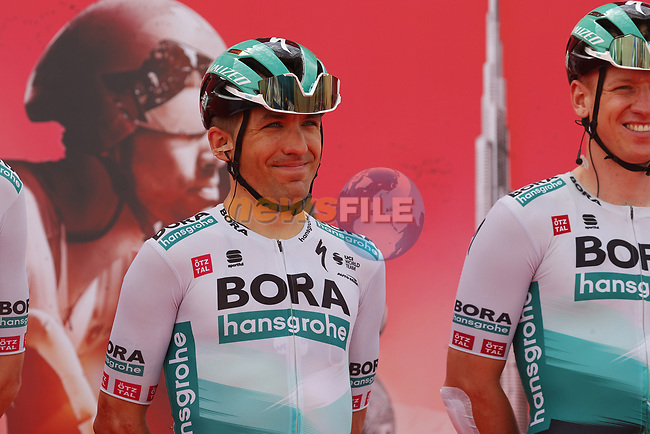 Cesare Benedetti (ITA) Bora-Hansgrohe at sign on before the start of Stage 1 of the 2021 UAE Tour the ADNOC Stage running 176km from Al Dhafra Castle to Al Mirfa, Abu Dhabi, UAE. 21st February 2021.  <br /> Picture: Luca Bettini/BettiniPhoto | Cyclefile<br /> <br /> All photos usage must carry mandatory copyright credit (© Cyclefile | Luca Bettini/BettiniPhoto)