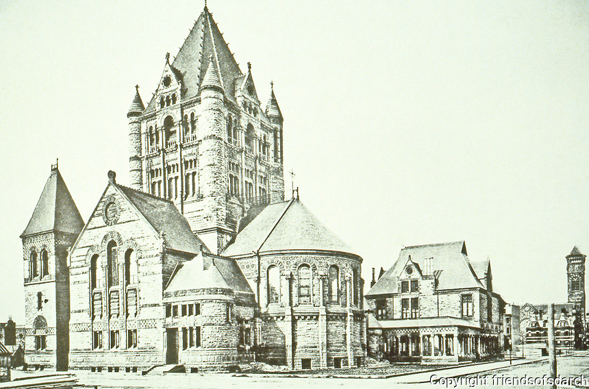 H.H. Richardson: Trinity Church, Boston, MA. 1873-77. Clay roof, polychromy, rough stone, heavy arches, and a massive tower.