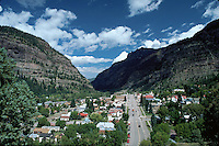 Aerial landscape of a town nestled in a Rocky Mountains canyon. Ouray, Colorado.