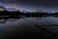 Night sky stars over Chugach Mountains and Knik River in Matanuska-Susitna Valley.  Spring landscape<br /> <br /> Photo by Jeff Schultz/SchultzPhoto.com  (C) 2018  ALL RIGHTS RESERVED