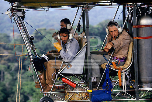 Makande, Gabon. The gondola of the dirigible in flight; Dany Cleyet-Marrel, Francois Collignon and Frans Breteler.